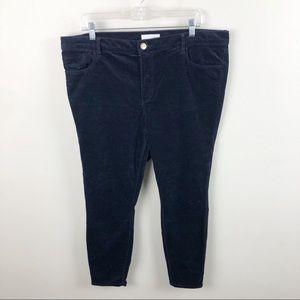 Loft Modern Skinny Brushed Corduroy Pants Blue 16